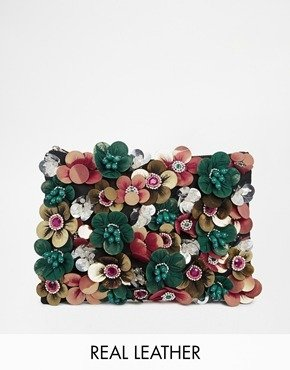 Asos Clutch Bag With Flower Embellishment