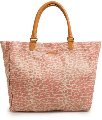 MANGO Leopard metallic canvas shopper