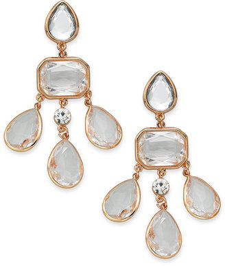 Charter Club Rose Gold-Tone Crystal Stone Chandelier Clip-On Earrings