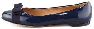 Salvatore Ferragamo Varina Bow-Top Ballerina Flat, Oxford Blue
