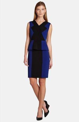 BCBGMAXAZRIA 'Racha' Peplum Colorblock Sheath Dress