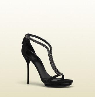 Gucci Strappy Crystal Stiletto Platform Sandal
