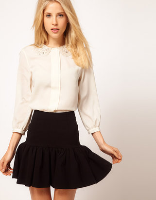 Asos Blouse With Pearl Embellished Collar