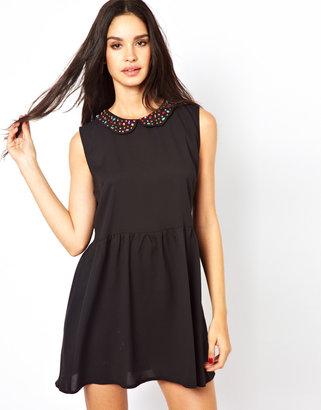 Glamorous Dress With Studded Collar