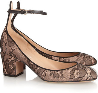Valentino Lace and leather pumps