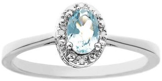 Sterling Oval Prong-Set Gemstone Ring with Diamond Accents