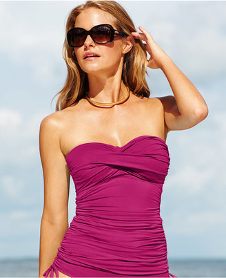 Anne Cole Twist-Front Ruched Tankini Top $58 thestylecure.com