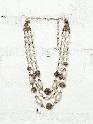 Free People Vintage Costume Pearl Bead Necklace
