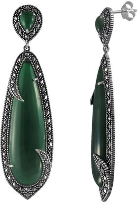 Swarovski Lavish By Tjm Lavish by TJM Sterling Silver Green Agate Drop Earrings - Made with Marcasite