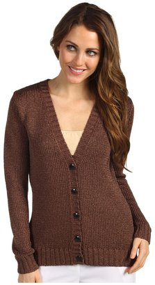 Jones New York L/S Deep V Cardigan (Whiskey) - Apparel