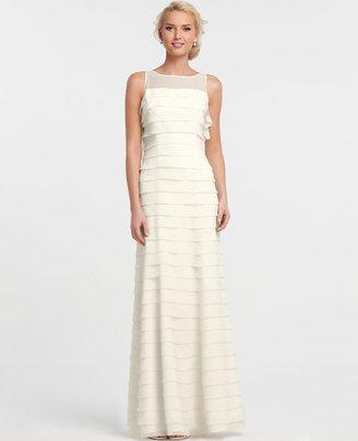 Ann Taylor Silk Georgette Tiered Sleeveless Wedding Dress