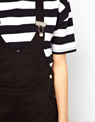 Asos Exclusive Dungaree Romper With Deep V