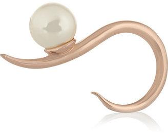 Swarovski Ryan Storer Rose gold-plated pearl two-finger ring