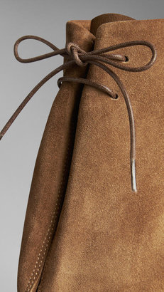 Burberry Suede Peep-Toe Ankle Boots