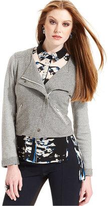Bar III Jacket, Long-Sleeve Knit Moto