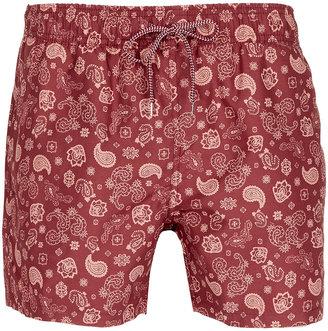 Topman Burgundy Paisley Swim Shorts