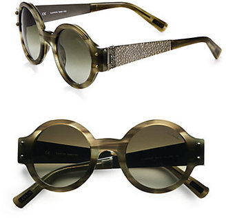 Lanvin Round Swarovski Crystal & Hammered Metal-Trim Sunglasses