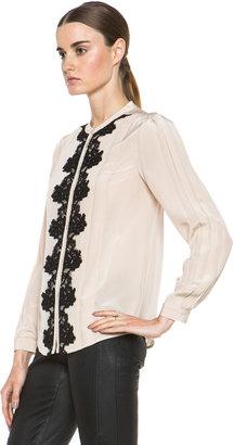 Diane von Furstenberg Blanche Blouse in Blondwood & Black