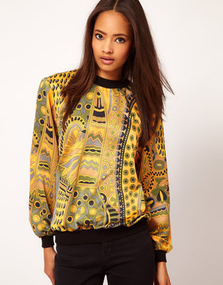 Asos Woven Sweat Top With Baroque Print