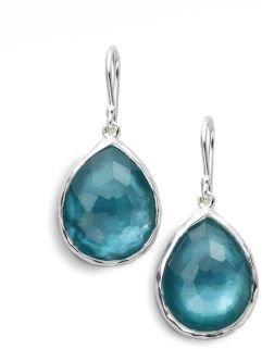 Ippolita Wonderland Denim Mother-of-Pearl, Clear Quartz & Sterling Silver Mini Doublet Teardrop Earrings