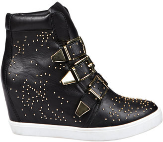 Steve Madden STEVEN BY Jeckle Black Leather Wedge Sneakers with Gold-Tone Accents