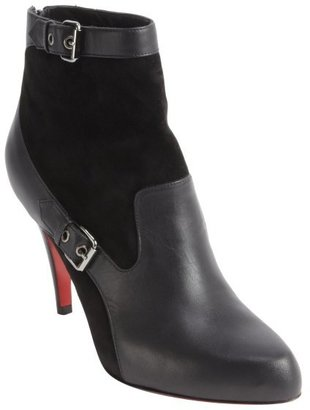 Christian Louboutin black suede and leather 'Canassone 85' ankle boots