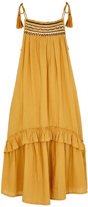 Velvet by Graham & Spencer Vonnie Mustard Embroidered Cotton Midi Dress