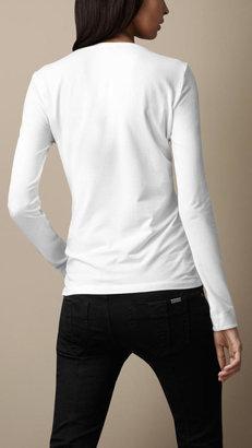 Burberry Check Cuff Stretch Cotton Top