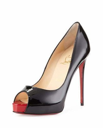 Christian Louboutin New Very Prive Patent Red Sole Pump, Black/Red $795 thestylecure.com
