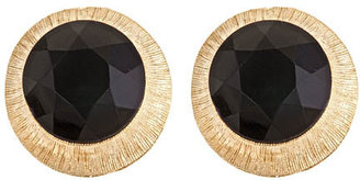 Yochi Jet Black Button Earrings