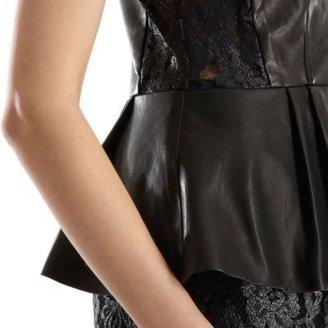 Sea Leather Inset Lace Peplum Dress