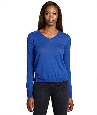 Inhabit blue cotton-wool blend v-neck sweater