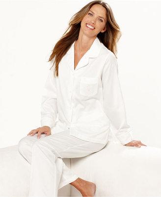 Miss Elaine Pajamas, Brushed Back Satin Top and Pajama Pants Set