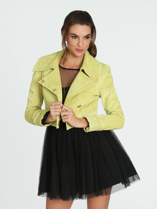 Arden B Cropped Suede Asymmetrical Jacket
