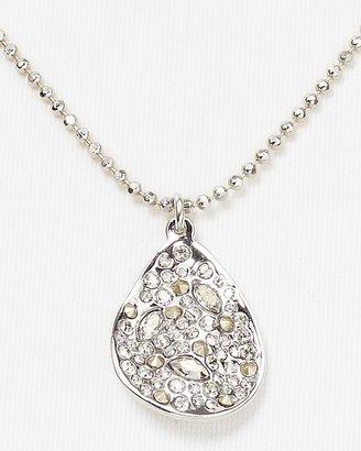 "Alexis Bittar Crystal Encrusted Rhodium Small Drop Necklace, 18"""