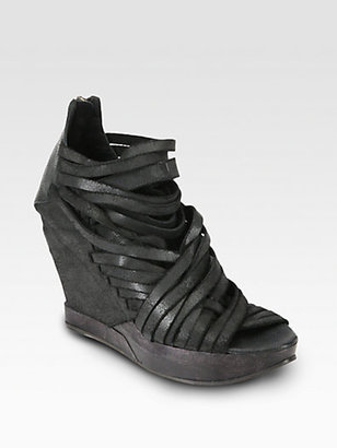 Ld Tuttle Ruin Distressed Leather Wedge Ankle Boots