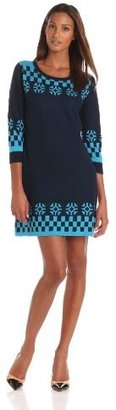 Anna Sui Women's Check and Snowflake Sweater Dress