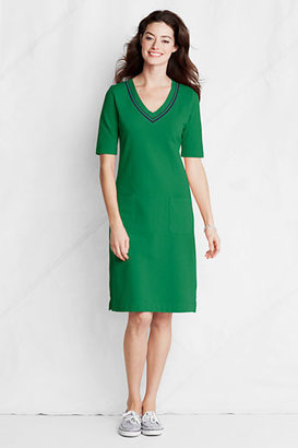 Lands' End Women's Petite Knit Pique V-neck Dress