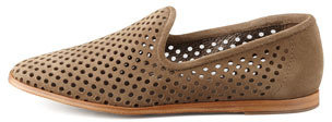 Pedro Garcia Yasmin Perforated Suede Loafer, Taupe