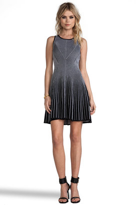 Milly Knit Two-Toned Rib Stretch Dress