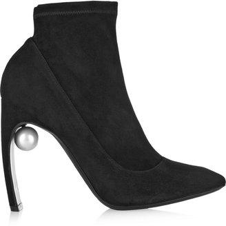 Nicholas Kirkwood Embellished Stretch-Suede Ankle Boots