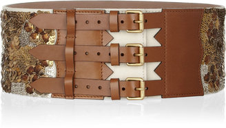 Alexander McQueen Wide sequined leather waist belt