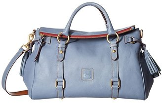 Dooney & Bourke Florentine Vacchetta Satchel (Steel Blue/Steel Blue Trim) Satchel Handbags