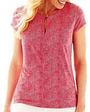 Liz Claiborne Short-Sleeve Keyhole Knit Top