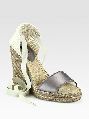 Marc Jacobs Satin Tie-Up Espadrille Wedge Sandals