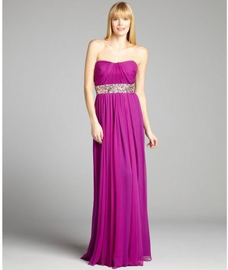 Notte by Marchesa magenta silk chiffon embellished pleated strapless gown