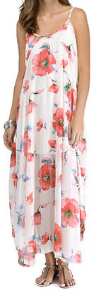 Romwe Floral Print Strapped Maxi Dress