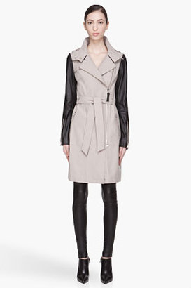 Mackage Black leather and taupe Avra Long CLassic Trench coat