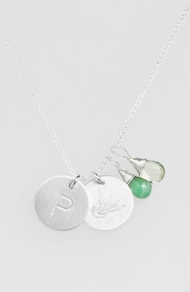 Nashelle Green Amethyst Initial & Swallow Sterling Silver Disc Necklace