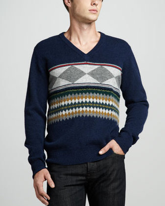 Burberry Printed V-Neck Sweater